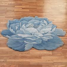 hillary blue peony flower shaped round rugs