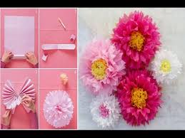 how to make a giant tissue paper flower very easily wall art room decor diy paper pom tutorial