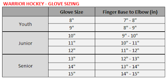 Glove Size 10 Chart Hockey Glove Size Chart Warrior