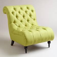 Green Tufted Devon Slipper Chair - World Market