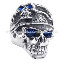 china 316 snless steel biker jewelry rings with blue zircon eyes vine style whole