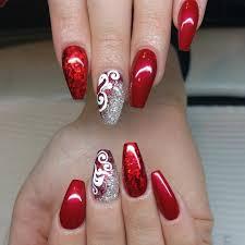 Black And Silver Glitter Design Nail Art