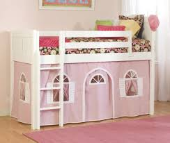 bolton cottage low loft bed with pink curtain