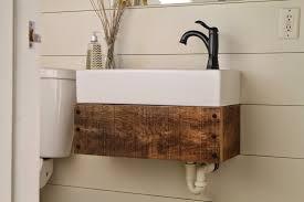 Ikea Bathroom Canada Diy Floating Reclaimed Wood Vanity With Ikea Sink Girl Meets