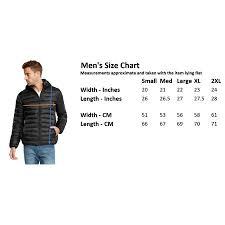 Mens Small Jacket Size Chart 9 Crowns Essentials Mens Lightweight Puffer Jacket