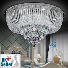 new modern genuine k9 crystal led flush ceiling light chandelier remote control