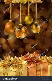 Glass Present Box Lights Golden Christmas Glass Balls Present Boxes Stock Photo Edit