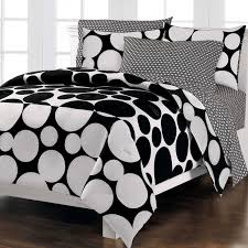 fascinating black white queen size comforter set huge black dots on a white background constructed of an easy care cotton polyester blend contemporary