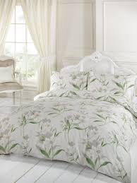 hamilton mcbride natural single duvet cover set green white lily