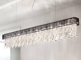 prisma chrome 10 light linear ceiling light pendant with clear crystal and black shade kolarz lighting