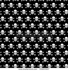 Skull Pattern Gorgeous Crossbones Skull Pattern On Black Background Stock Vector Royalty