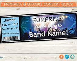 Concert Ticket Etsy