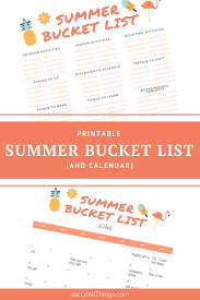 Bucket List Printable Template Summer Bucket List Template And Calendar Jac Of All Things