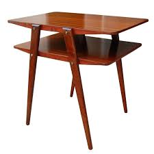 two tier end table two tier mid century modern end table in ribbon gany at gany