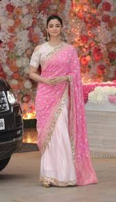 Designer Wall Sarees Best Poster Alia Bhatt In Pink Saree Blouse Alia Bhatt Saree