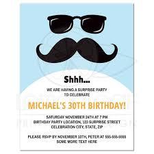 surprise birthday party invite incognito mustache and sunglasses surprise birthday party invitation