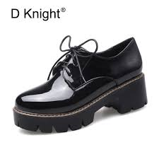 2018 platform shoes woman thick heels oxford shoes for women patent leather creepers casual oxfords spring flats women shoes