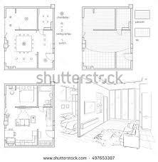 interior design floor plan sketches. Set Of Black And White Drawings Interior Design. Floor Plan With Design Floor Sketches
