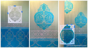 Stenciling the Annapakshi Stencil for Sari inspired DIY stenciled door via  Paint+Pattern