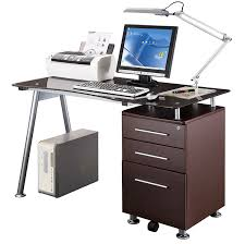 com techni mobili stylish brown tempered glass top computer desk with storage chocolate kitchen dining