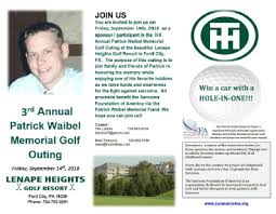Memorial Fundraiser Flyer 3rd Annual Patrick Waibel Memorial Golf Outing Sarcoma Foundation