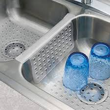 MDesign Kitchen Sink Protector Mat Pad Set, Quick Draining   Use In Sinks  To Protect