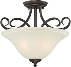Frosted Glass Light Fixture Westinghouse Lighting Oil Rubbed Bronze 6306500 Dunmore Two Light Indoor Semi Flush Finish With Frosted Glass