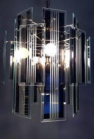 glass panel chandelier beveled panels vintage art hanging reflective smoke gray smoked glass panel chandelier
