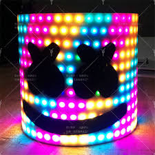 Original <b>MarshMello DJ</b> Mask Tiesto <b>LED</b> Head Helmet Cosplay Bar ...