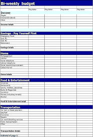 Excel Biweekly Budget Template Free Bi Weekly Budget Template