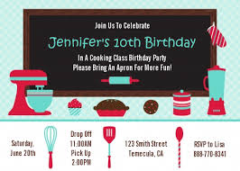 Class Party Invitation Cooking Class Birthday Beautiful Cooking Party Invitations