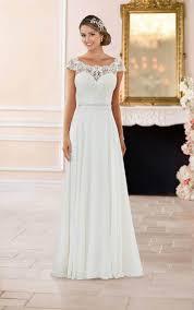 off the shoulder lace back wedding dress stella york