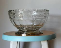 footed glass bowl large cut