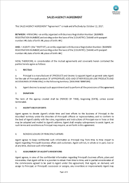 Business Agency Agreement Template Sales Agency Agreement Template Representative Microsoft Word 1