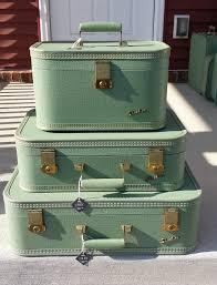 vintage luggage. starline 3 piece vintage luggage suitcase set light by elanbox, $225.00