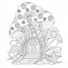 Hand Getekende Paddestoel Huis Volwassen Kleurplaat Stockvectorkunst