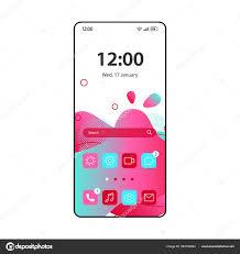 Fluid App Design Smartphone Home Screen Interface Vector Fluid Template