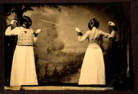 Old photograph of two women fencing, ca. 1885