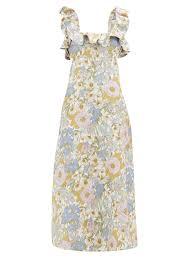 Designer Linen Clothing Uk Super Eight Floral Print Linen Midi Dress Zimmermann