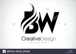 Bw Design Bw B W Creative Modern Black Letters Logo Design With Brush