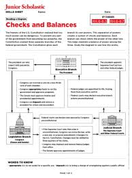 Checks And Balances Chart Answer Key The Constitution Free Middle School Teaching Resources