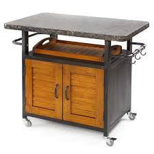 Kitchen Cart With Doors Bistro Granite Top All Weather Kitchen Cart With Wood Doors At