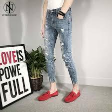 <b>Autumn New</b> Type Hollow Light coloured Nine cent Jeans, <b>Men's</b> ...