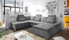 Details Zu Couch Nalo Sofa Schlafcouch Wohnlandschaft Bettsofa Dunkelgrau U Form Links