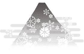白黒 富士山和風柄と雲背景無料イラスト81620 素材good