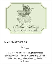 babysitting gift certificate template free babysitting gift certificate template free download clip art