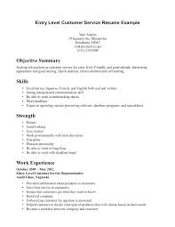 entry level customer service resume ...