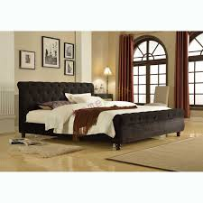 Bed u0026 Mattress Package Queen Size Upholstered Black VelVet  LONDON
