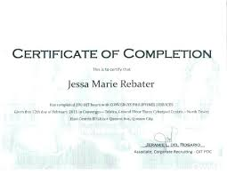 Completion Certificate Sample Sample Of Certificate Of Completion Free Certificate Of Project