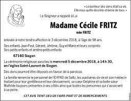 Décès de Madame Cécile FRITZ née FRITZ (03/12/2018) [fr-FR], Annonce  nécrologique (265132)